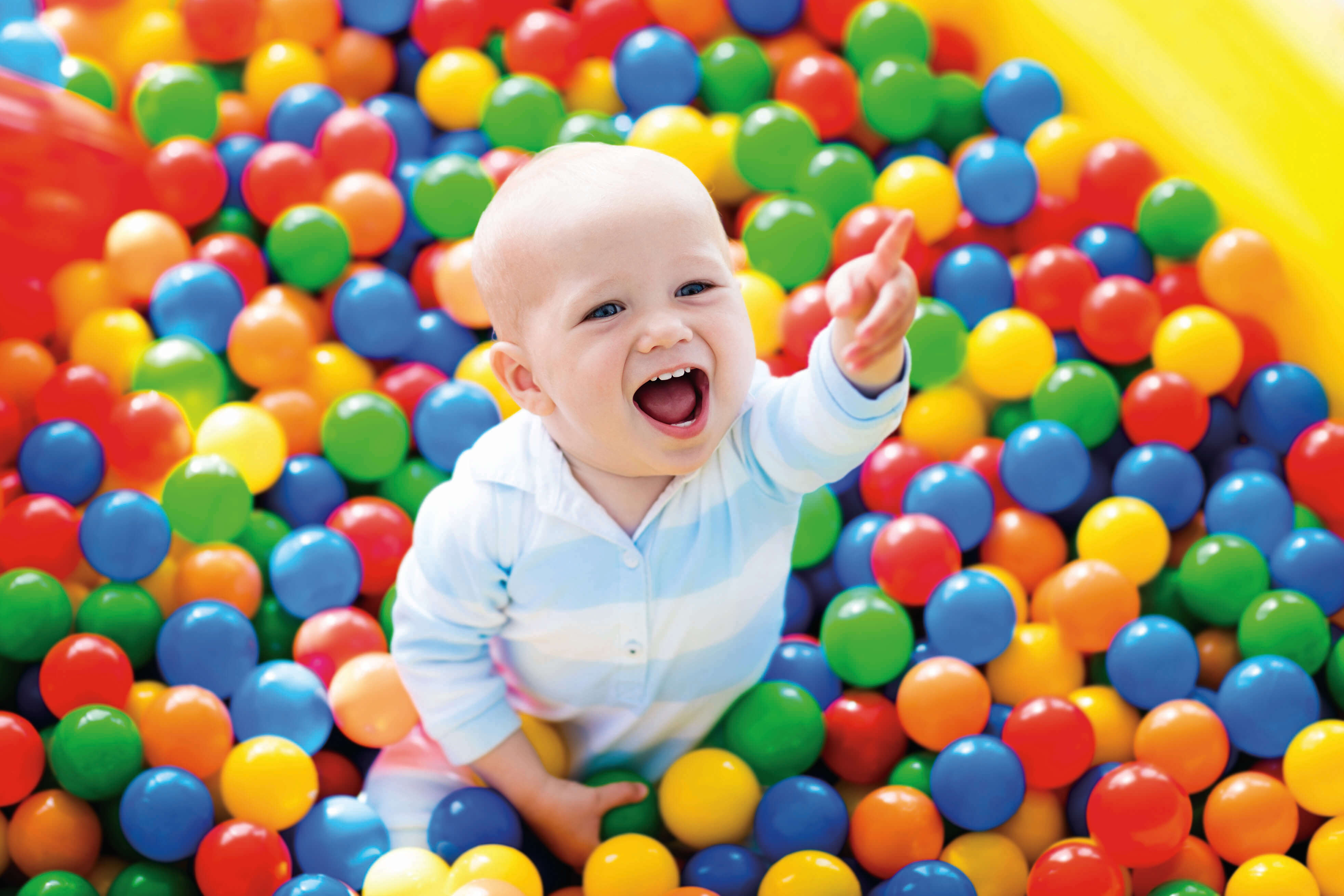 baby in a ball pit