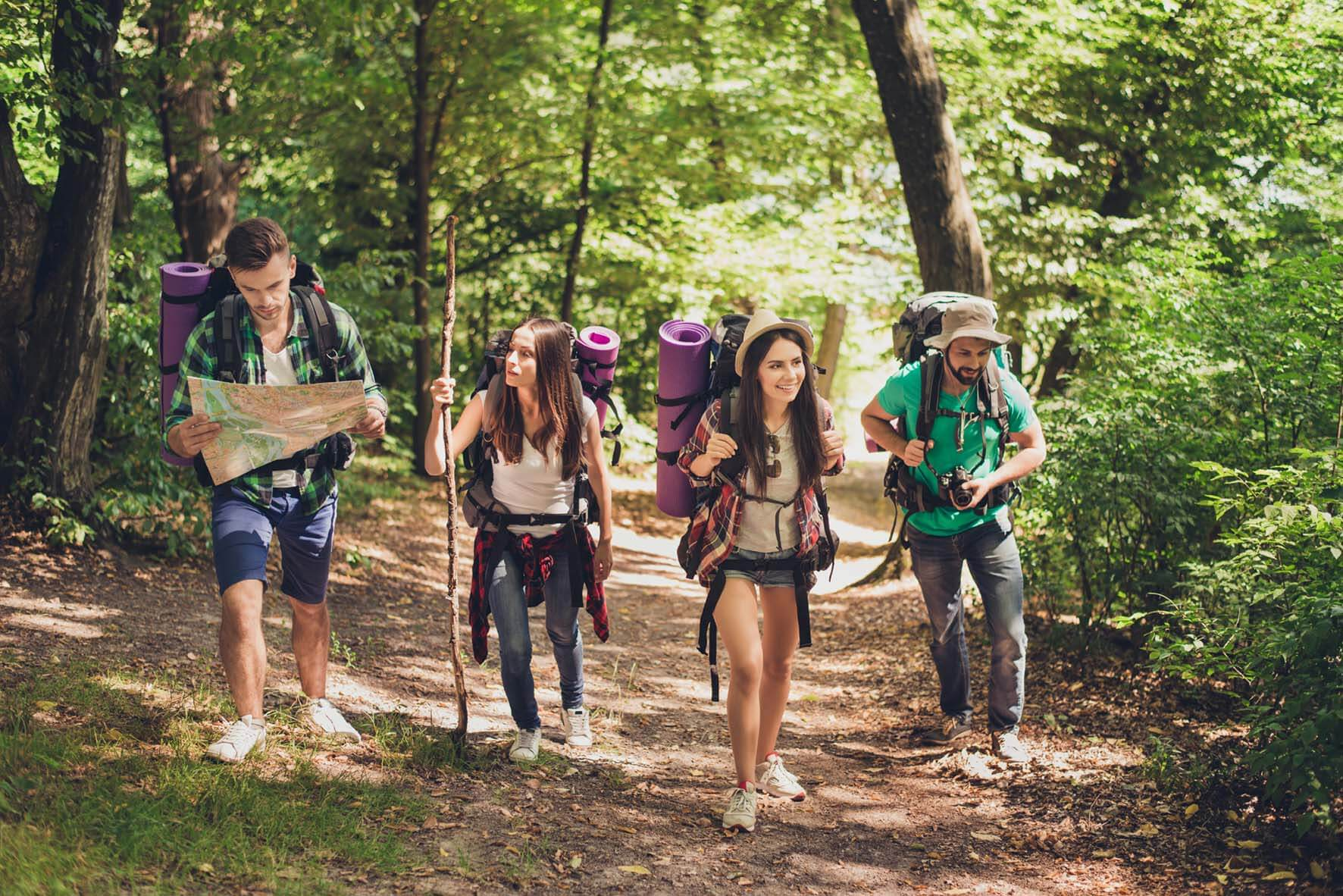 Young people on a hike