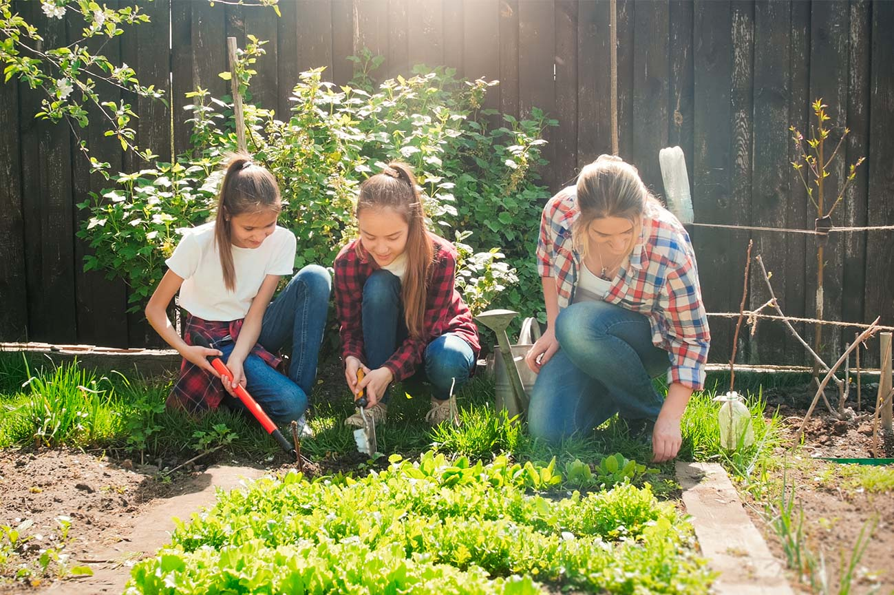 Young people gardening