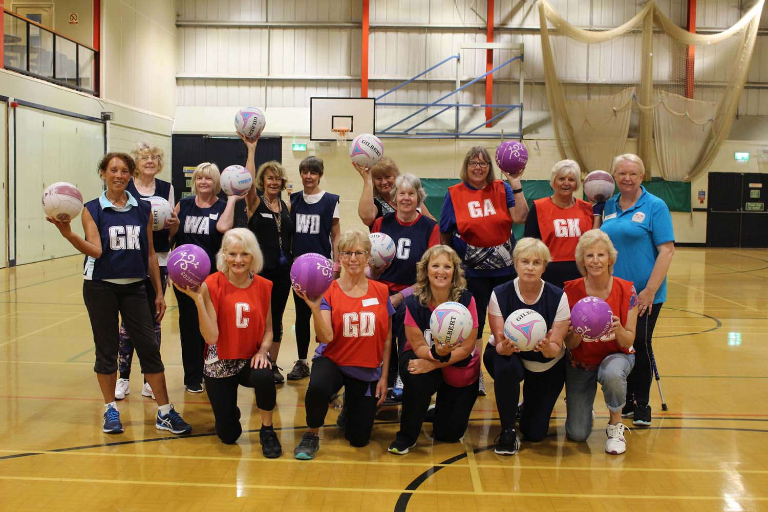 a team of walking netball players