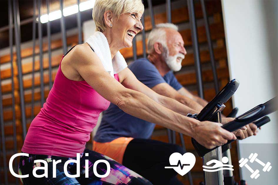 older people on exercise bikes