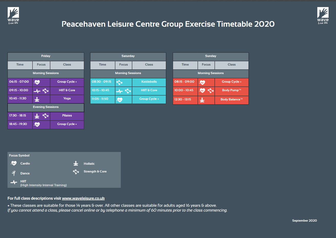 Peacehaven leisure centre timetable Friday to Sunday. PDF available.