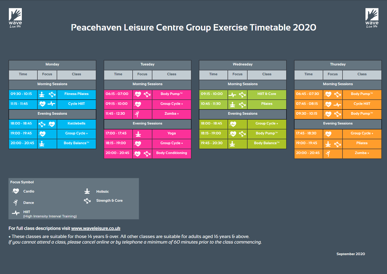 Peacehaven leisure centre timetable Monday to Thursday. PDF available.